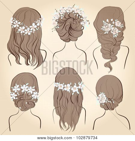 set of different vintage style hairstyles wedding hairstyles hair styles with flowers sketch hairstyle head female isolated on a beige background
