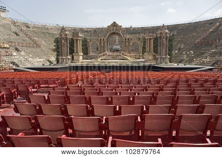 Italy.   Veronese Amphitheater. View Of The Stage.
