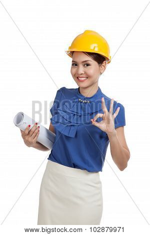 Asian Engineer Woman With Blueprints Show Ok Hand Sign