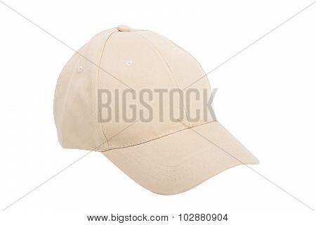 Cream Baseball Hat Isolated