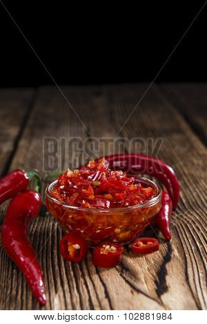 Bowl With Preserved Red Chilis