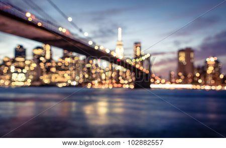 New York City Blurred Image From The Brooklyn Bridge