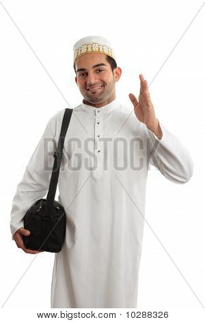 Friendly Ethnic Man Waving