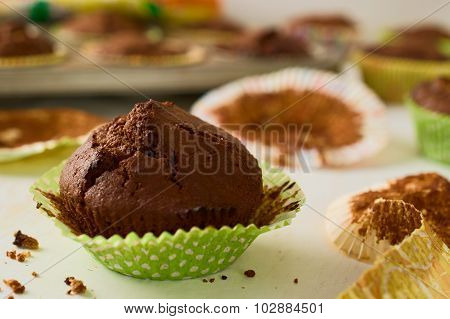 Freshly Baked Homemade Chocolate Muffin Cupcake In Green Paper Cup