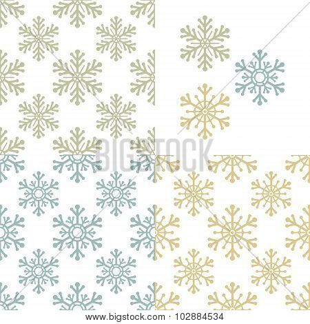 repeating pattern set with snowflakes