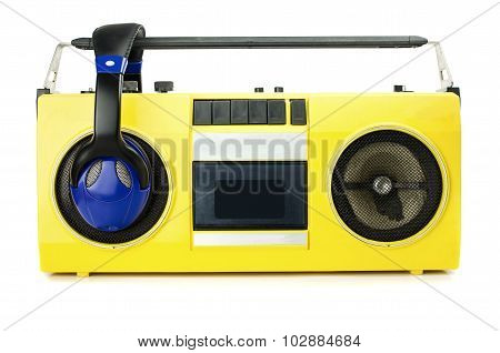 Retro Ghetto Blaster Yellow With Headphones