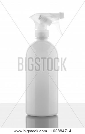 White plastic bottle on white background