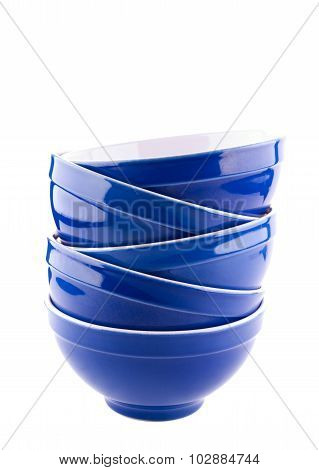 Blue bowls on white background