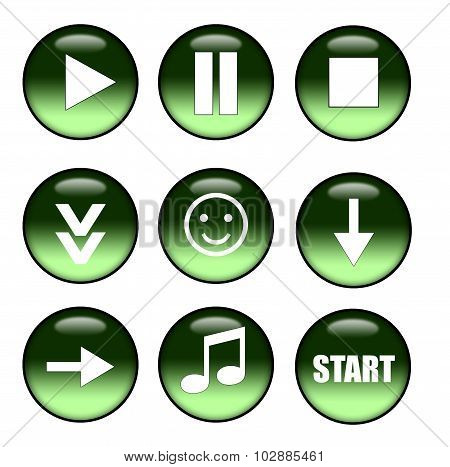 Green buttons: play, pause, stop, download, smile, next, music, start