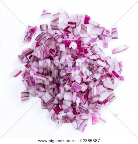 Diced Red Onion (isolated On White)