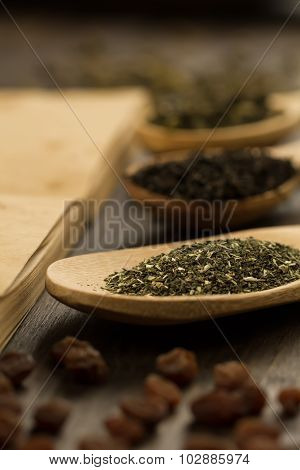 Tea Collection, Flowers, Old Blank Open Book On Wooden Background. Menu, Recipe, Mock Up