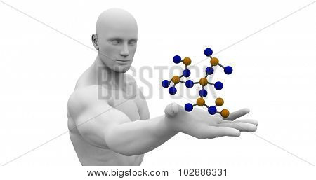 Science Technology and 3d Genetic Atomic Concept