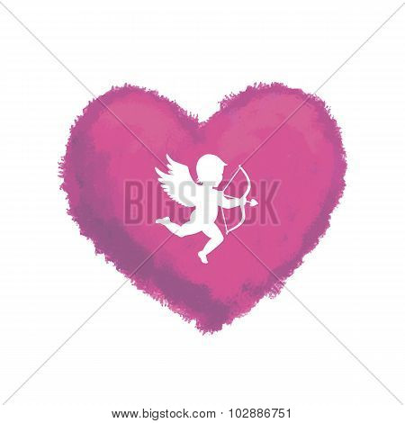 Textured Heart With Cupid