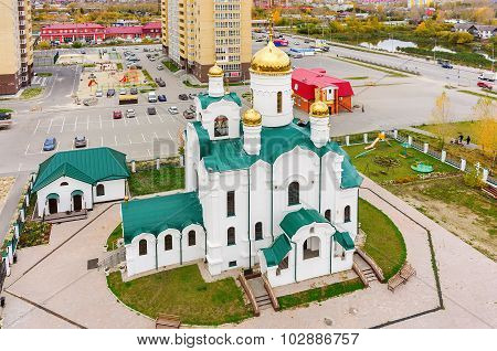 Church in Tura residential district.Tyumen. Russia