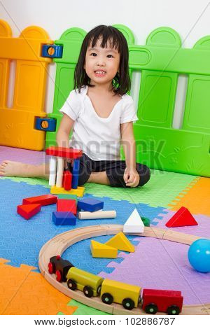 Asian Chinese Children Playing With Blocks