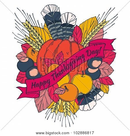 Thanksgiving Day greeting card with spikes, feathers, chestnuts, vegetables and fruits  in cartoon s