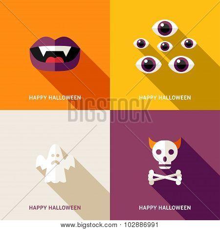 Set Of Flat Design Halloween Greeting Cards. Teeths, Eyes, Ghost, Skull