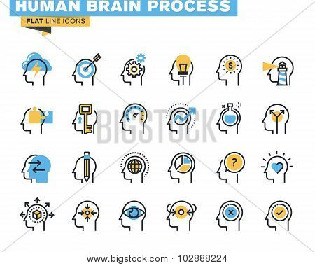 Flat line icons set of human brain process