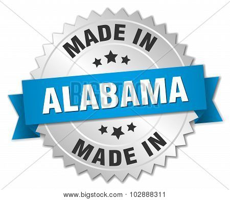 Made In Alabama Silver Badge With Blue Ribbon