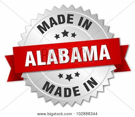 Made In Alabama Silver Badge With Red Ribbon