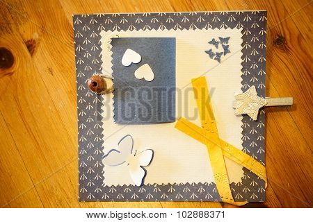 Patchwork Pieces On Wooden Background