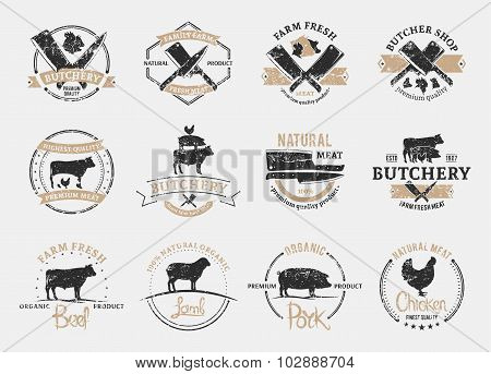 Butchery Labels and Design Elements. Farm Animals Silhouettes And Icons