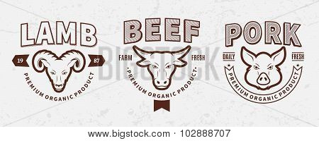 Butchery Labels, Farm Animals Icons And Design Elements