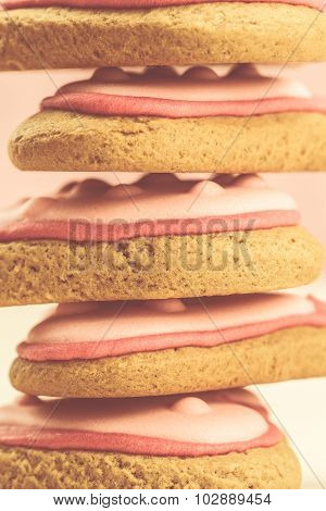 Stack Of Delicious Fresh Cookies In The Shape Of A Heart On The Pink .
