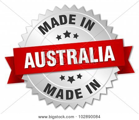 Made In Australia Silver Badge With Red Ribbon