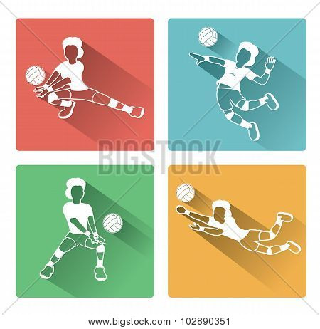 Modern flat Volleyball woman player icons set with long shadow effect