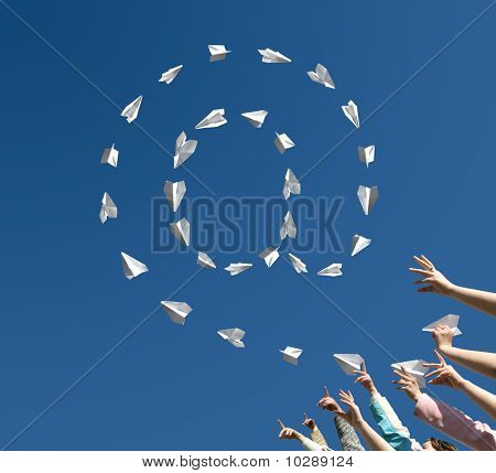 Paper Airplanes  In The Manner Of Symbol Of E-mail