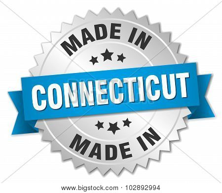 Made In Connecticut Silver Badge With Blue Ribbon