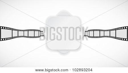 white paper banner on film-strip abstract background
