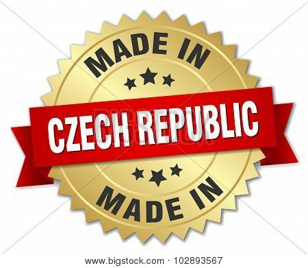 Made In Czech Republic Gold Badge With Red Ribbon