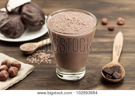 Delicious Chocolate Shake With Heart On Wooden Background. Cocktail, Smoothies