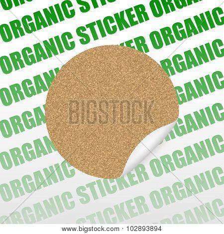 Organic Cork Natural Sticker, Tag ,sale  Label . Vector Illustration