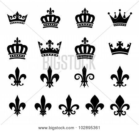 Collection of crown and fleur de lis design elements