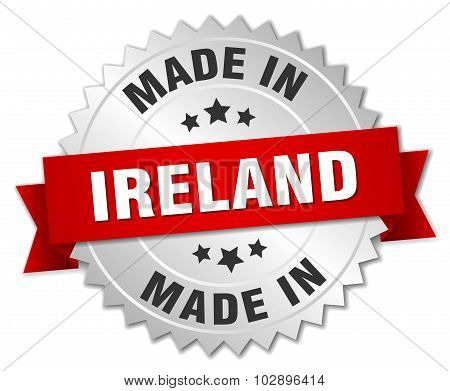 Made In Ireland Silver Badge With Red Ribbon