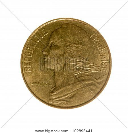 Coin Ten Centimes France Isolated On A White Background. Top View