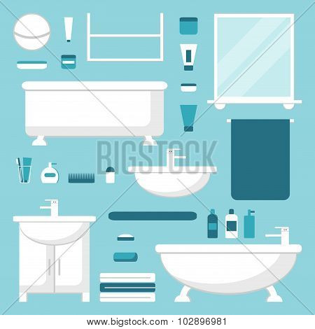 Bathroom elements set. Isolated bathroom furniture. Bathtub, washbasin, mirror, shelves, lamp.