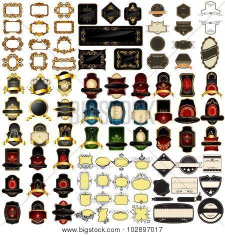 illustration of Vintage royal badge label and frame jumbo collection