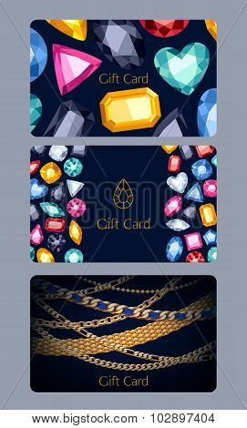 Gift cards set. Gemstones and chains background.