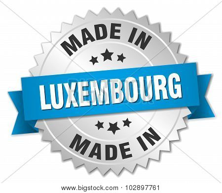 Made In Luxembourg Silver Badge With Blue Ribbon