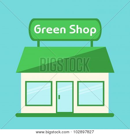 Shop icon. Modern isolated green shop building. Shop isolated icon on background.