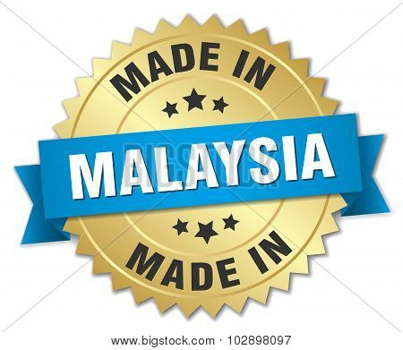 Made In Malaysia Gold Badge With Blue Ribbon