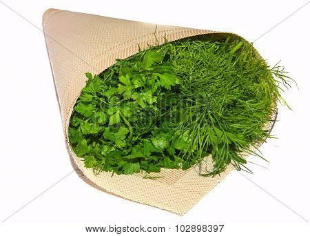 Parsley And Dill, Greens In Bags, Isolated, Cutting, Fresh Plants
