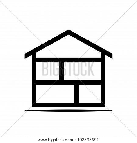 Isolated house icon logo. Concept house logotype. Black line house logo on white background.