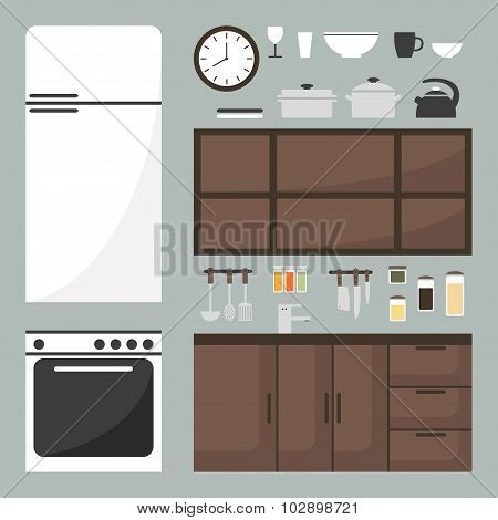 Kitchen elements set. Isolated kitchen furniture and kitchenware.
