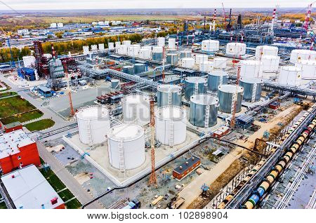 Aerial view on oil refinery plant. Tyumen. Russia