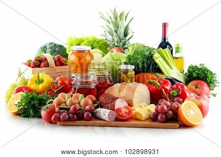 Composition With Organic Food Isolated On White